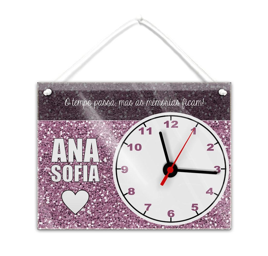 1c0d12e5879 Relógio parede nome família imitar purpurinas tons rosa escuro