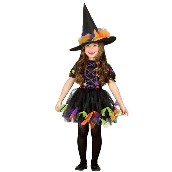 Fato carnaval de Bruxa bolinhas às cores para menina